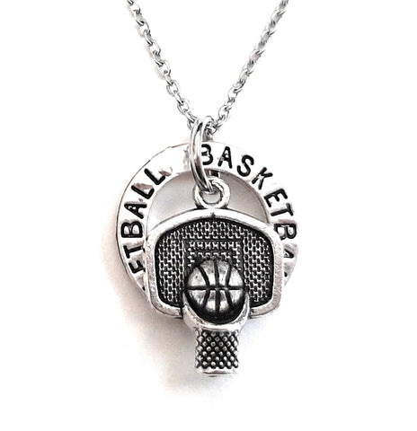 "Basketball Player Message Pendant Necklace ""Basketball"""