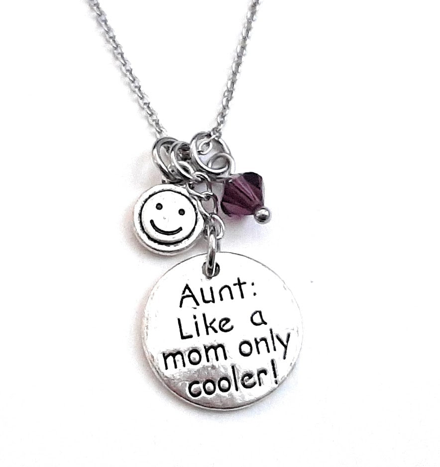 "Aunt Message Pendant Necklace ""Aunt: Like a Mom only cooler"" Your Choice of Charm and Birthstone Color"