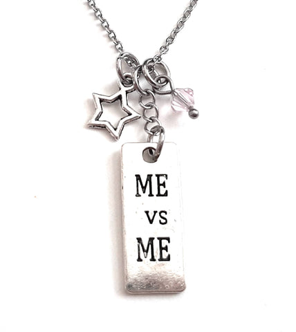 "Message Pendant Necklace ""Me vs Me"" Your Choice of Charm and Birthstone Color"