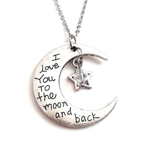"Message Pendant Necklace ""I Love You to the Moon & Back"" Moon shape Your Choice of Charm and Birthstone Color"