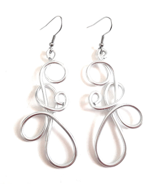 Swirly Silver Toned Aluminum Light-Weight Long Earrings Style #2