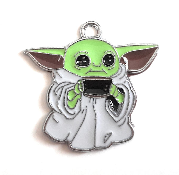 Bulk 1, 5, 10 PC Charms Baby Yoda, The Child, Grogu from Mandalorian Enamel Pendant Charms for Jewelry Making