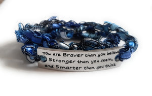 Inspirational Message Crocheted Ladder Yarn Wrap Around Bracelet - You are Braver than you believe...
