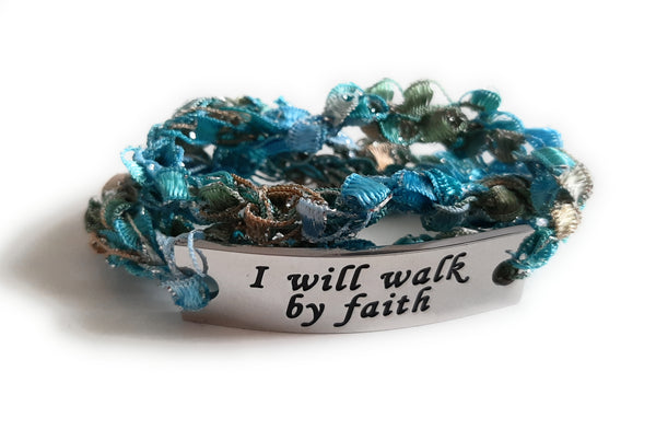 Inspirational Message Crocheted Ladder Yarn Wrap Around Bracelet - I will walk by faith