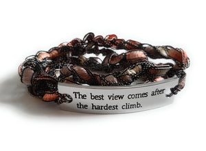 Inspirational Message Crocheted Ladder Yarn Wrap Around Bracelet - The best view comes after the hardest climb.