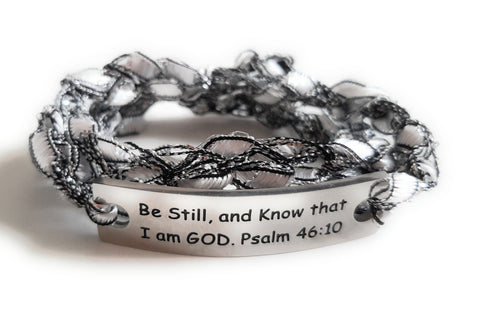 Inspirational Message Crocheted Ladder Yarn Wrap Around Bracelet - Be Still and Know that I am GOD. Psalm 46:10