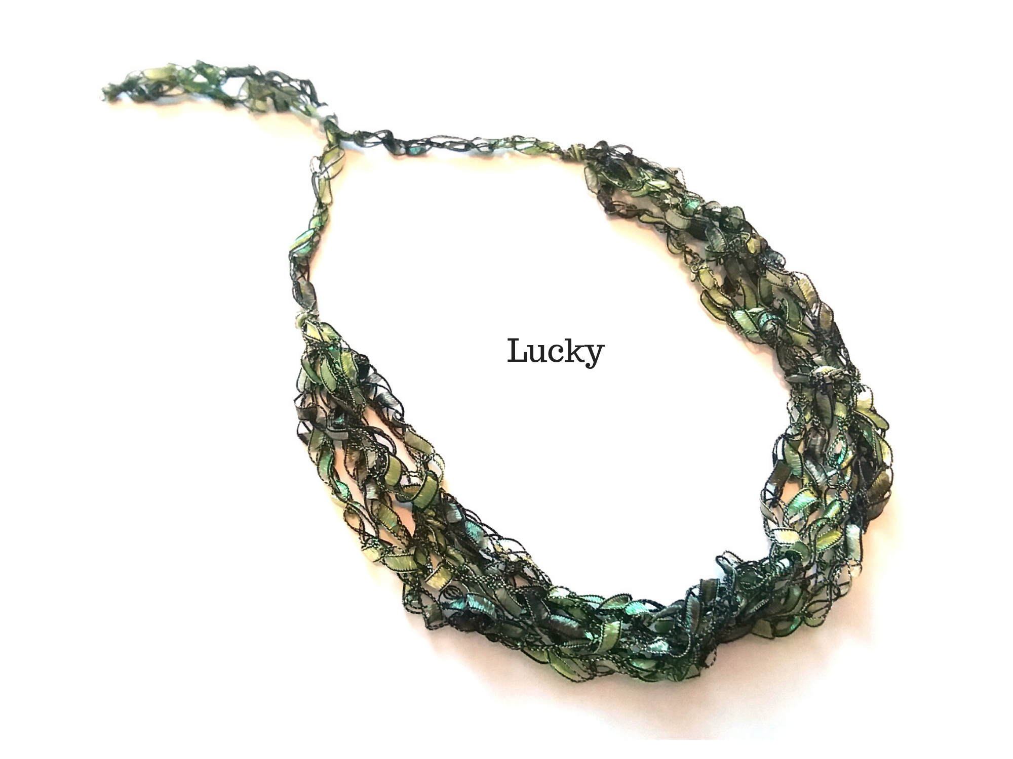 Crocheted Trellis Yarn Necklace Multi-Strand - Lucky