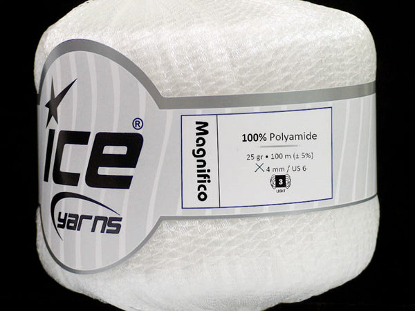 Magnifico Ribbon Yarn - White