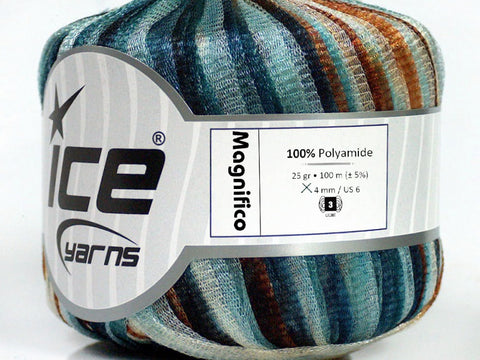 Magnifico Ribbon Yarn - Turquoise Brown Shades Teal