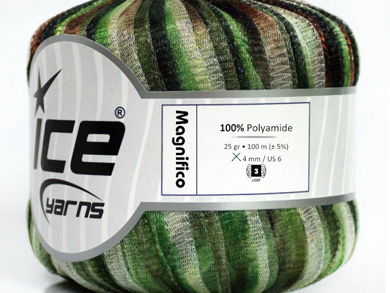 Magnifico Ribbon Yarn - Green Shades Brown White