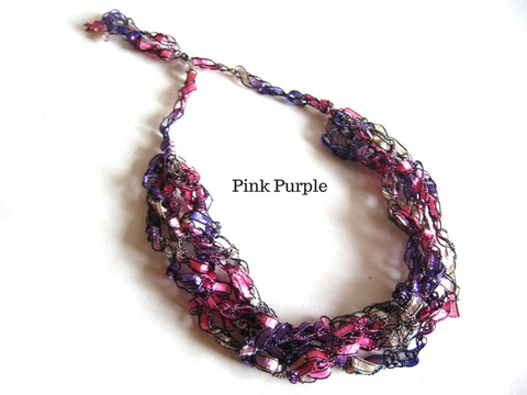 Crocheted Trellis Yarn Necklace Multi-Strand - Pink Purple