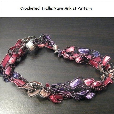 Crocheted Trellis Ribbon Yarn Anklet Pattern - Mailed to your Address