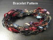 Crocheted Trellis Ribbon Yarn Bracelet Pattern - Mailed to your Address