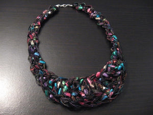 Crocheted Trellis Yarn Bib Necklace Pattern - Instant Digital Download