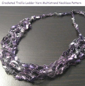 Crocheted Trellis Yarn Multi-Strand Necklace Pattern - Instant Digital Download