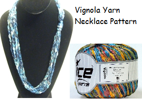 Crocheted Vignola Ribbon Yarn Infinity Necklace Pattern - Instant Digital Download