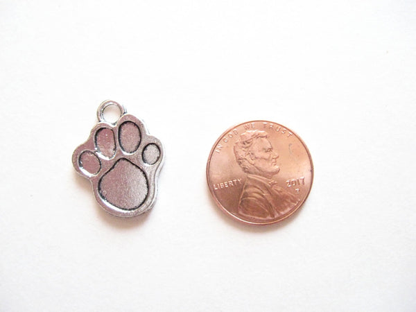 Antique Silver Solid Paw Print Pendant Charms (Jump Rings Included)