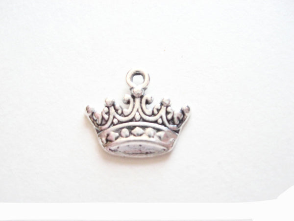 Antique Silver Princess Crown Pendant Charms (Jump Rings Included)