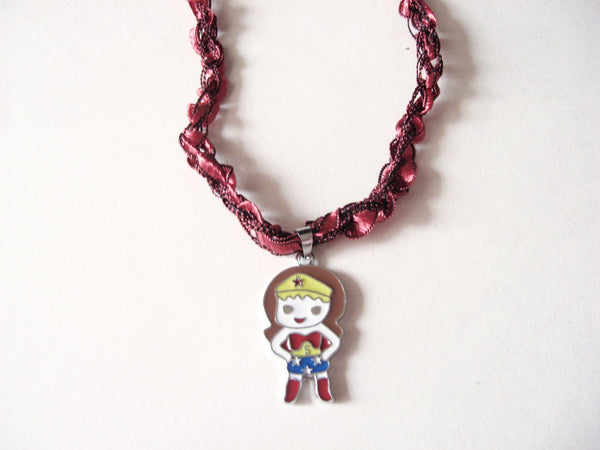 Wonder Woman Necklace with Crocheted Yarn Chain