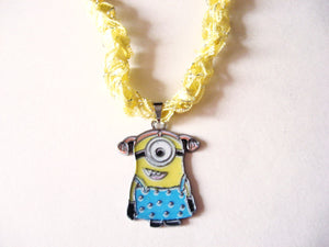 Minion Girl Necklace with Crocheted Yarn Chain