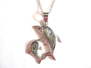 Abalone Shell Pendant Necklace on Stainless Steel Chain - Dolphins