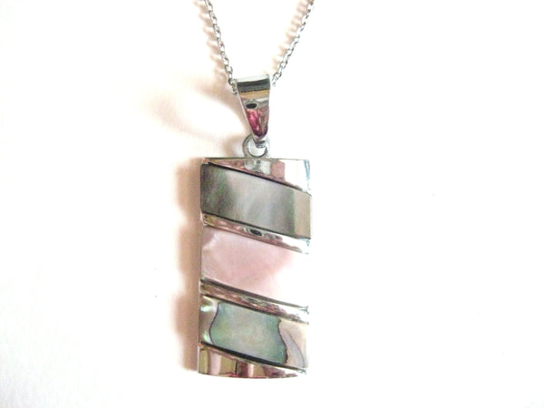Abalone Shell Pendant Necklace on Stainless Steel Chain - Diagonal 3-Tone Pendant