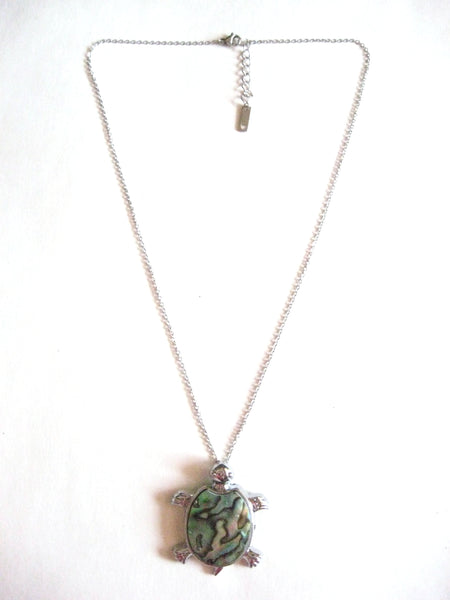 Abalone Shell Pendant Necklace on Stainless Steel Chain - Turtle