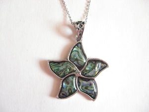 Abalone Shell Pendant Necklace on Stainless Steel Chain - Flower