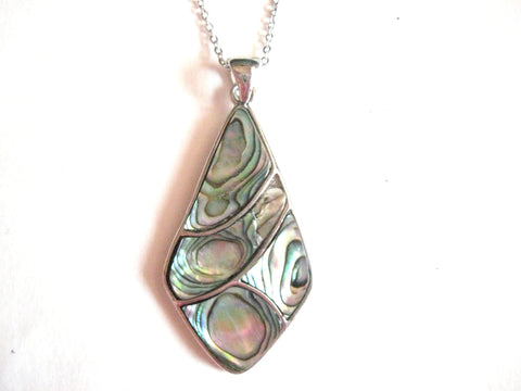 Abalone Shell Pendant Necklace on Stainless Steel Chain - Elongated Diamond