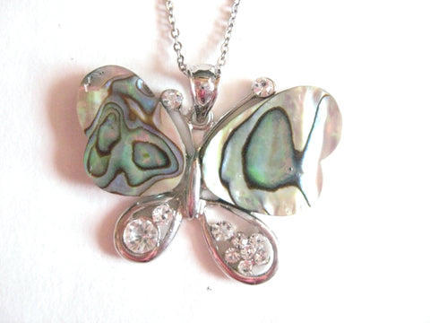 Abalone Shell Pendant Necklace on Stainless Steel Chain - Butterfly