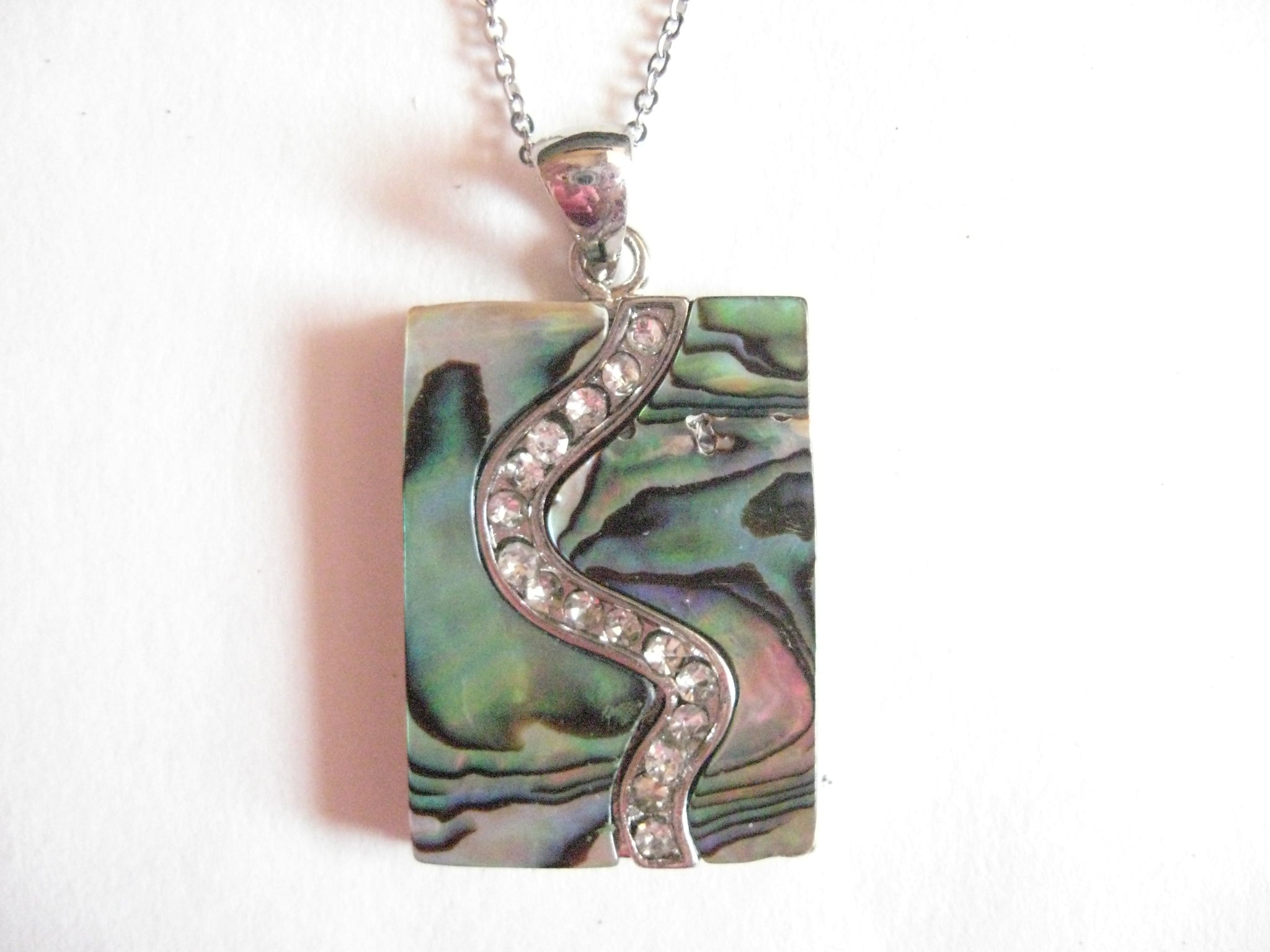 Abalone Shell Pendant Necklace on Stainless Steel Chain - Rectangle with Crystals