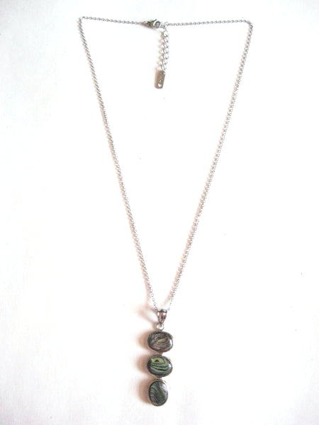 Abalone Shell Pendant Necklace on Stainless Steel Chain - 3 Ovals