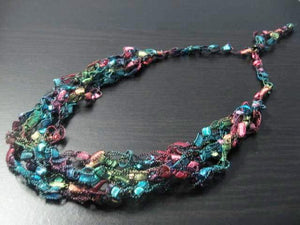 Crocheted Trellis Yarn Necklace Multi-Strand - Stained Glass