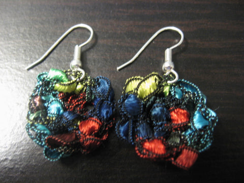 Crocheted Trellis Yarn Dangle Coin Earrings - Jewels