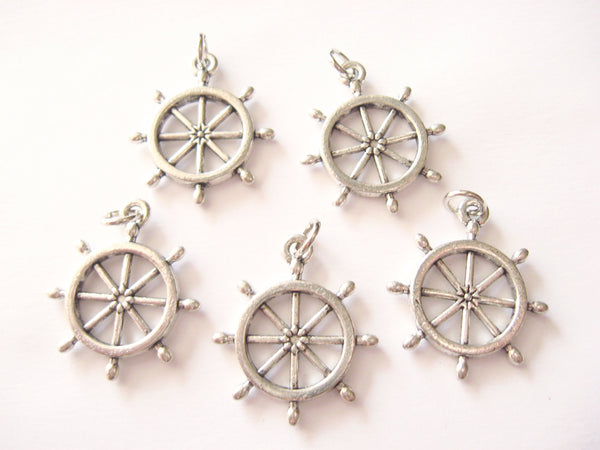 Antique Silver Ship's Wheel Pendant Charms