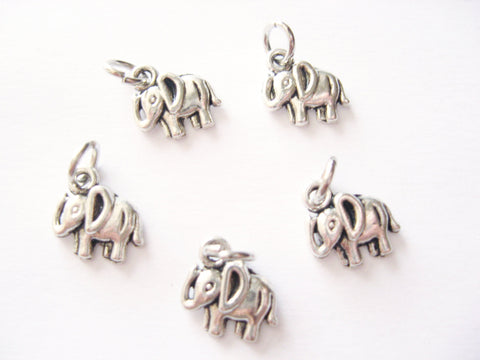 Antique Silver Elephant Pendant Charms