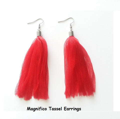 Crocheted Magnifico Yarn Tassel Earrings - Red