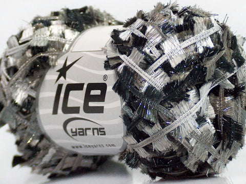 Quinte Butterfly Yarn (Single Skein 40m) - Black Gray Shades White with Sparkle