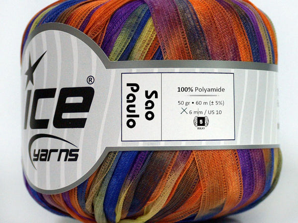 Sao Paulo Ribbon Yarn - Orange Blue Yellow Purple
