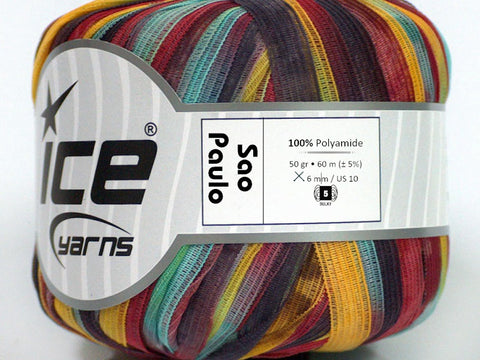 Sao Paulo Ribbon Yarn - Red Yellow Turquoise Black