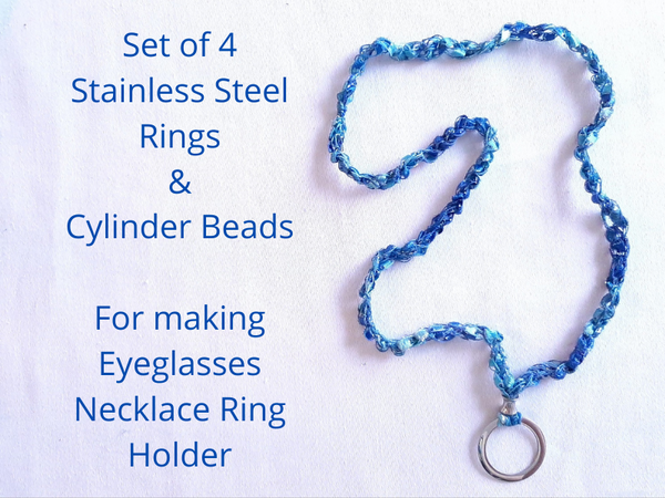 Set of 4 Stainless Steel Rings and Cylinder Beads for making Eyeglasses Necklace Ring Holder