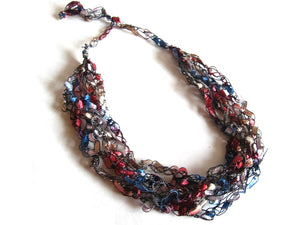 Crocheted Trellis Yarn Necklace Multi-Strand - Denim