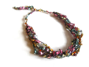 Crocheted Trellis Yarn Necklace Multi-Strand - Fresh Flowers