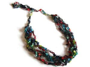 Crocheted Trellis Yarn Necklace Multi-Strand - Jewels