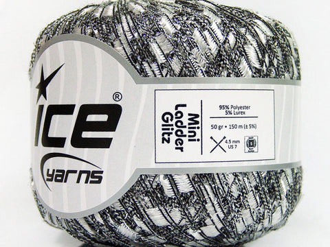 Trellis Ladder Yarn - Silver Mist Sparkle (mini)