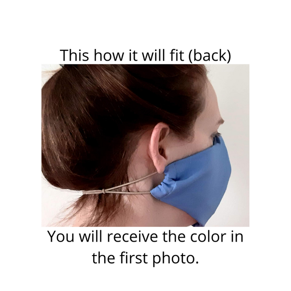 BEST FIT Cotton Fabric Face Mask, 2 Layers, Filter Pocket, Flexible Nose Wire Piece, Elastic behind Head-No Ear Pain - Light Blue