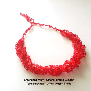 Crocheted Trellis Yarn Necklace Multi-Strand - Heart Throb