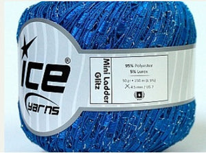 Trellis Ladder Yarn - Cobalt Blue Sparkle (mini)