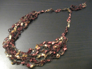 Crocheted Trellis Yarn Necklace Multi-Strand - Cherrywood