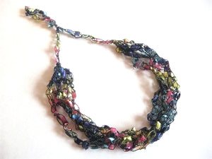 Crocheted Trellis Yarn Necklace Multi-Strand - City Lights